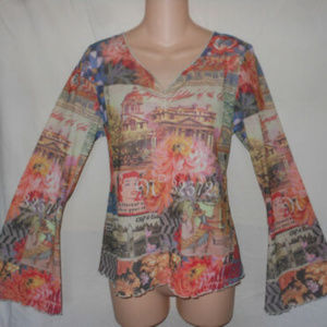 ONE WORLD M Retro Diner Tattoo Flare Sleeve Top